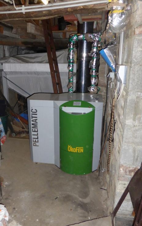 Delmelle Energies : chaudière Okofen PE avec silo textile